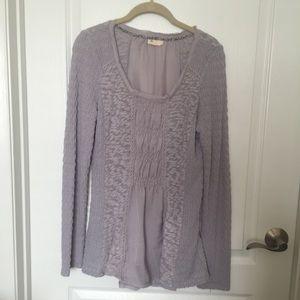Anthro Meadow Rue Light Gray Long Sleeve Knit Top